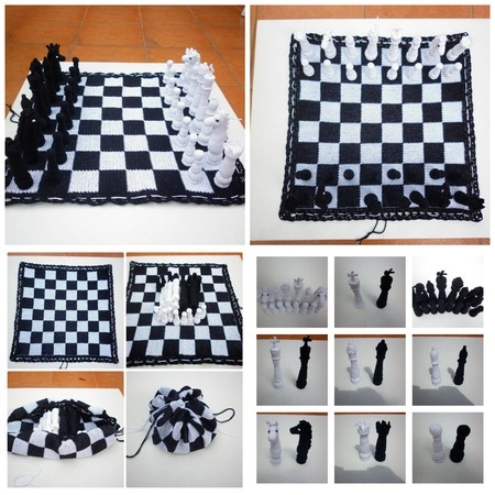 A set of four pictures that show crocheted black and white chess pieces on a black and white checkerboard