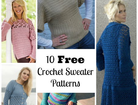 10 Free Crochet Sweater Patterns Collage