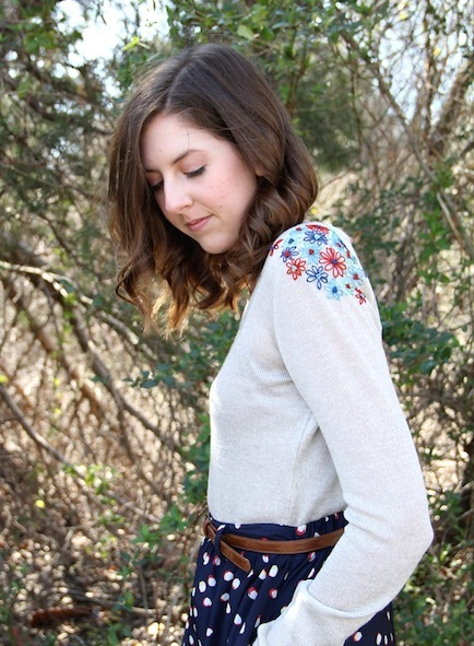 embroidered sweater shoulders how-to