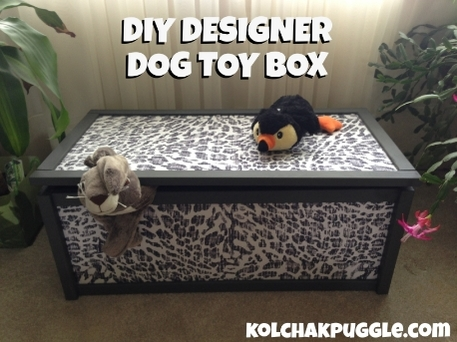 A toy box with a black and white pattern