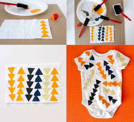 DIY Onesie with foam stamps