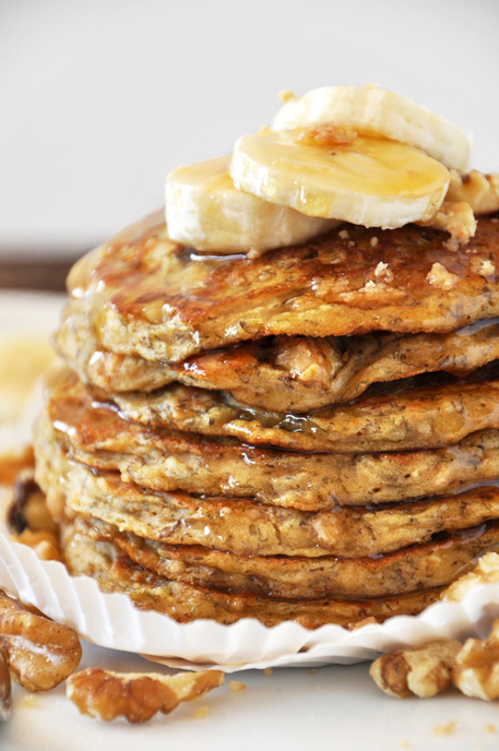 Vegan Banana Nut Muffin Pancakes