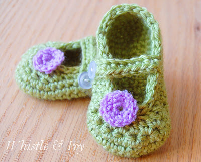 Mary Jane Baby Booties — Free Crochet Pattern
