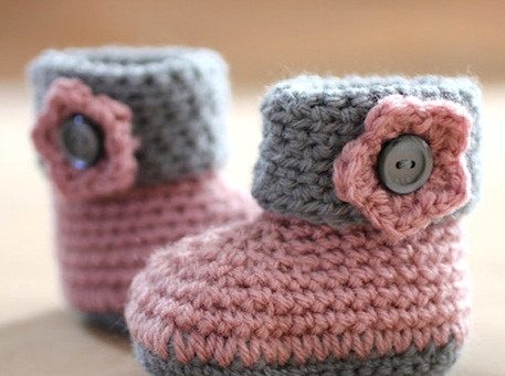 Knitted Baby Booties In The Round