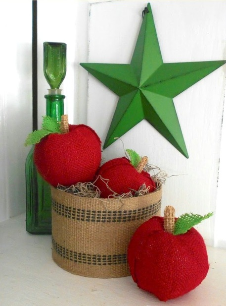 burlap apples, burlap vase