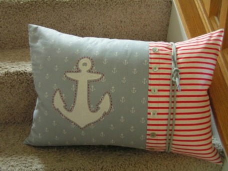 Anchor nautical pillow