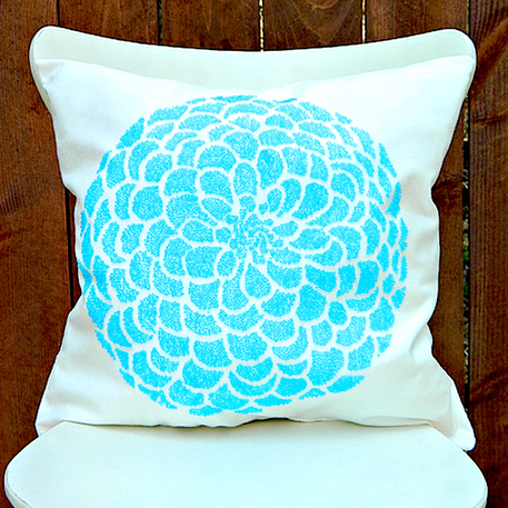 beaded stenciled pillow