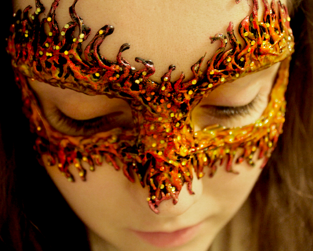 Hot glue fire halloween Mask