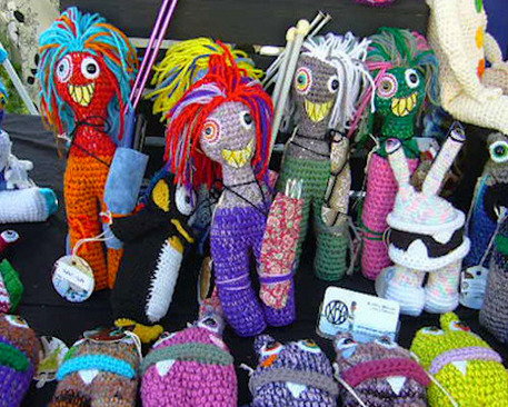 knit monster dolls