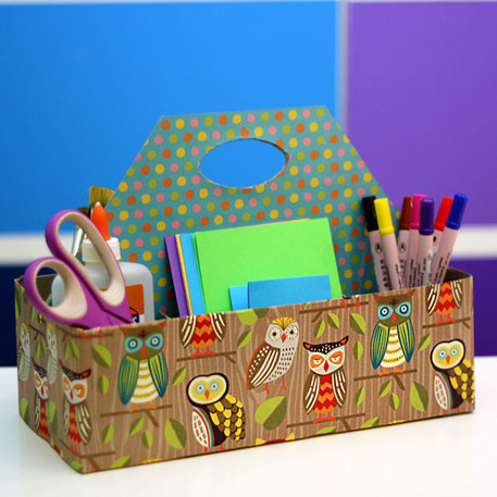 cereal box desk organizer