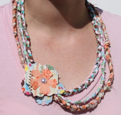fabric scrap necklace