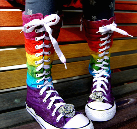 rainbow dyed hightop sneakers