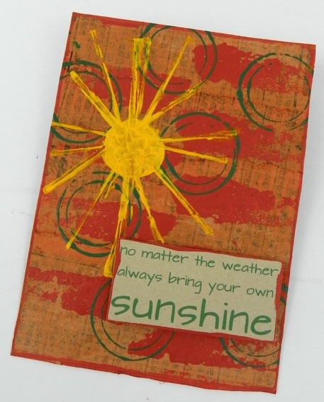 collage paint stamped recycled postcard