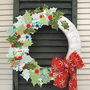 fabric holly no sew wreath