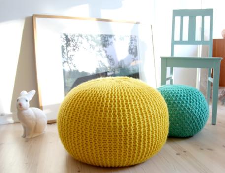 knit puff ottoman floor pillow