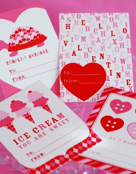 Last minute free printable valentines day cards craftfoxes red pink paper valentines m4hsunfo