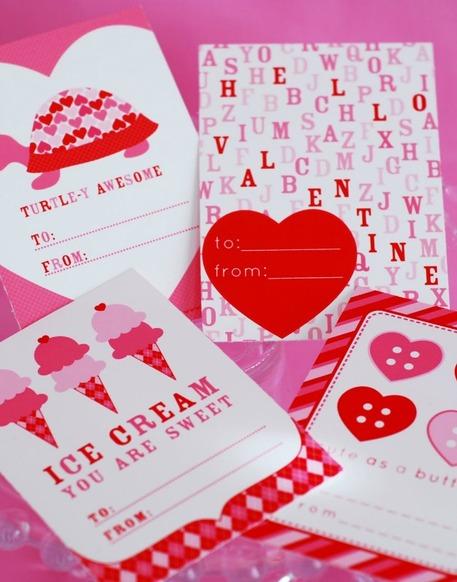 Red pink paper valentines