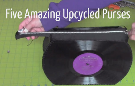 Upcyled Purse Made with Jeans, Records and Books