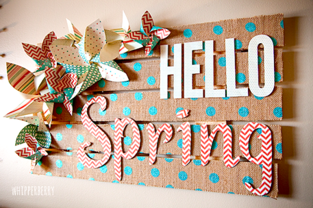 hello Spring burlap fabric Sign