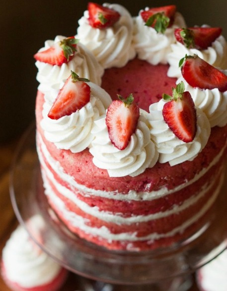 Strawberry cake with three layers