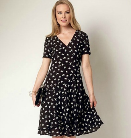 Two-Tiered, Short-Sleeved Wrap Dress