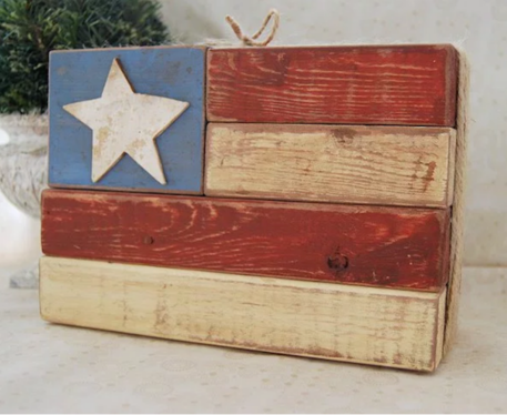 wood block US Flag