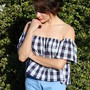 Gingham Off-Shoulder Top