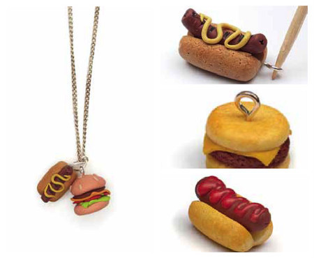 make a hot dog charm out of polymer clay