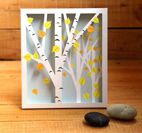 birch tree shadow box