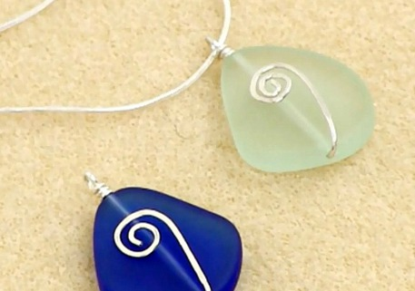 Wire Wrapped Beach Glass Pendant