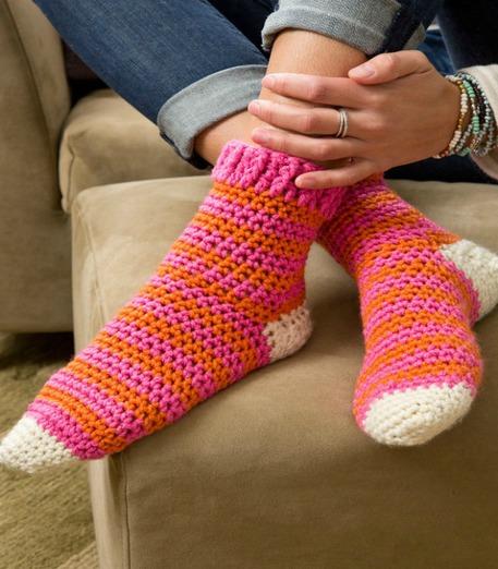 Pink and orange crocheted socks
