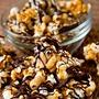 Popcorn coated in dark chocolate