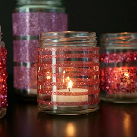 DIY glitter valentines day votives from mason jars