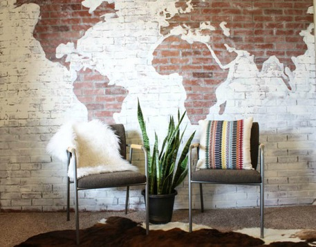 Faux brick world map