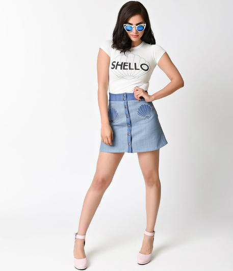 denim a-line skirt with shell pockets