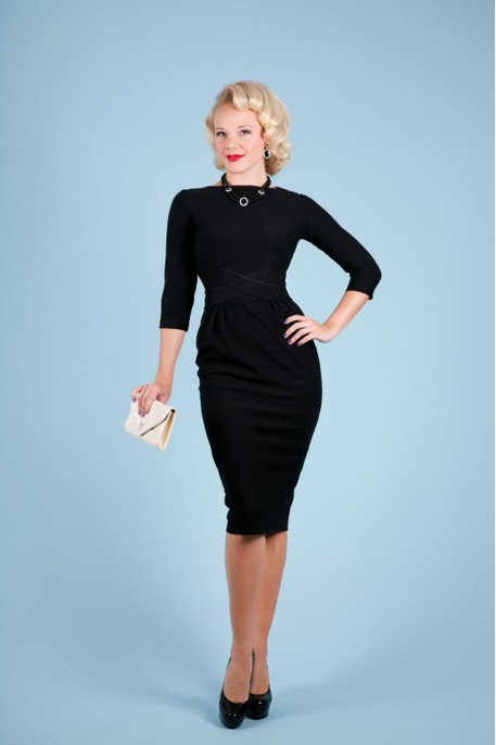 vintage style retro black dress with boat neck