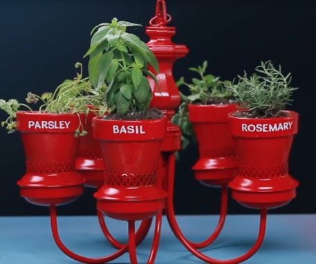 container gardening with a chandelier