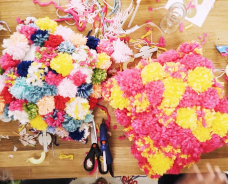 pom-pom pillows and other crafts for kids rooms