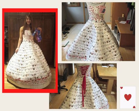 dress made from playing cards, playing card craft ideas