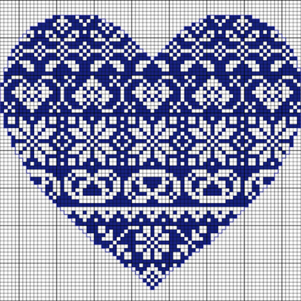 Free Fairisle Heart Cross Stitch Pattern
