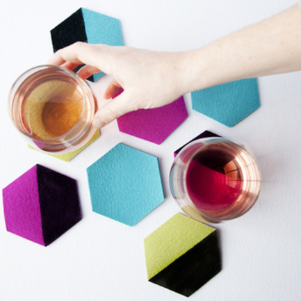 Easy DIY Felt Color-Blocked Coasters