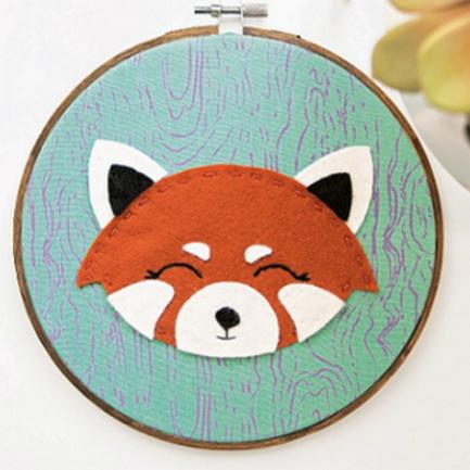 Super Cute Red Panda Embroidery