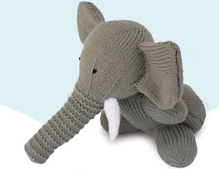 Knitted Elephant Children's Toy (Free Pattern)