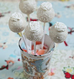 Wedding Cake Pops with White Roses