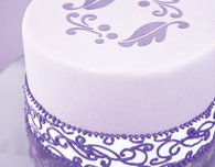 Violet Fondant Cake Icing with Victorian Scrollwork