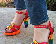 Refashion Sandals with Rainbow Glitter