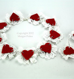 Paper Doily and Felt Heart Necklace