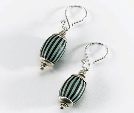 Striped Bead Earrings with Polymer Clay