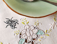 Embroidered Spider and Bug Doily and Tablecloth