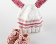 Knitted Bunny Hat and Booties (Free Pattern)